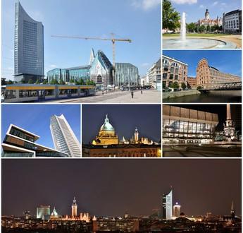 Collage mit Ansichten der Stadt Leipzig