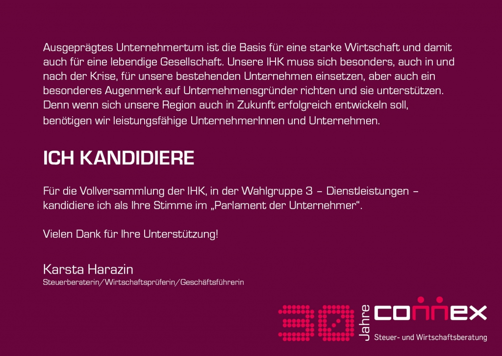 Karsta Harazin für die IHK-Vollversammlung